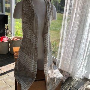 Hannah small hooded long cardigan vest neutral